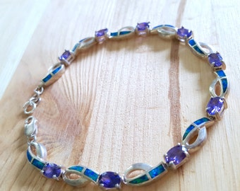 SALE...Gorgeous Amethyst & Sea Opal Sterling Silver 925 Infinity Bracelet.Perfect Jewelry Gift. Gift for her. ETSY Gift