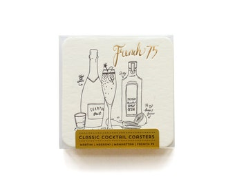 Classic Cocktails - Letterpress Coasters, Set of 8