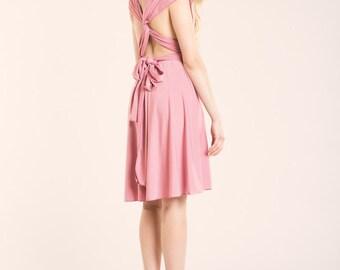 Powder pink dress, light pink short dress, powder pink short dress, light pink dress, knee length infinity dress, short bridesmaid dress