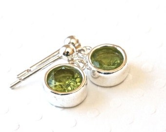 Genuine Peridot Earrings, Sterling Silver Stud Earrings, Silver Dangle Earrings, Green Earrings, Facets Jewelry, Birthstone Jewelry for Her