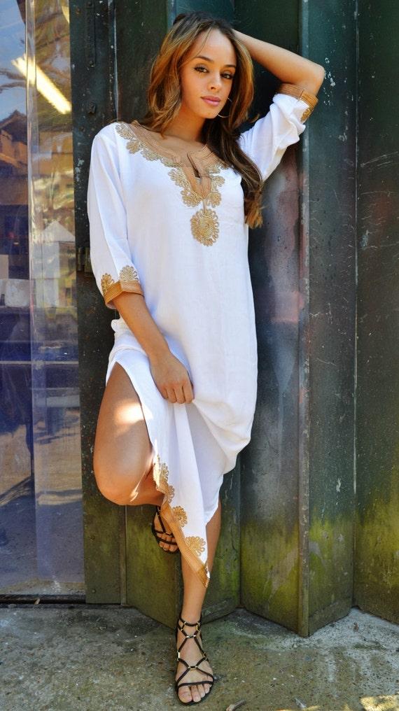 Kaftan White with Brown Caftan Kaftan Maxi Dress-Khalia loungewear,resortwear, great for Eid, Birthdays, Abaya,Maternity Gifts