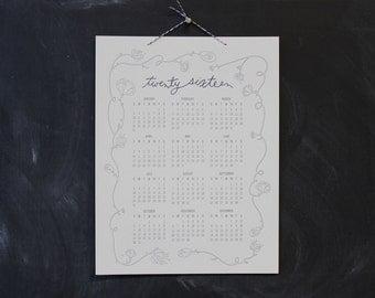 the Bennet 2016, letterpress wall calendar (CREAM & GREY)