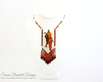 Chili Peppers Beaded Amulet Necklace Southwestern Jewelry Bead Woven Western Necklaces Bohemian Boho Shabby Chic - CLEARANCE ITEMS