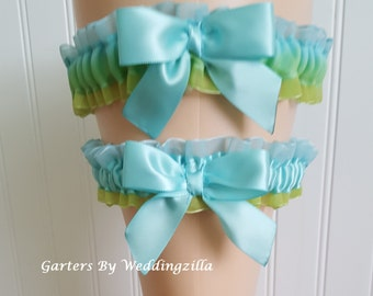 Blue Green Wedding Garter/  Wedding Garter Belt/ Bridal Garter Set/Beach Wedding Garter/ Sea Glass Wedding Garter/ Blue Garter/ Green Garter