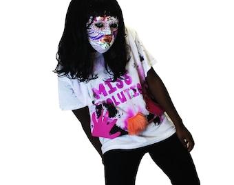 punk top Handmade Hand Printed white t-shirt, hand print top Womens Jersey Top punk fashion, pastel goth t-shirt, womens t-shirt