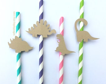 Girl Dinosaur Straws-Dino Straws-Dinosaur party-Girl Dinosaur birthday-Dinosaur-1st birthday-paper straws-striped straws-Dinosaur decor-12
