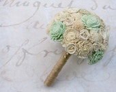 Ready to Ship - Mint Green Sola Wood Wedding Bouquet - Wood Flowers, Fabric Rosettes, Burlap - Bridesmaids, Medium, Small Bride's Bouquet