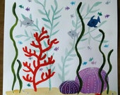 Coral Watercolor Painting, Under the Sea, Crab, Size 12 by 12 inches