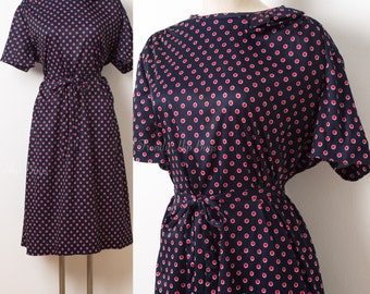 60s Dress, Mad Men Dress, Vintage Blue Dress, Blue Polka Dot Dress, Vintage Polka Dot Dress, plus size dress - 1XL/2XL