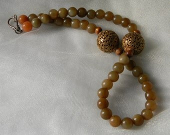 Gilded Tibetan copper beads with jade beads necklace , beaded jewelry , jade jewelry , large gilded Tibetan beads necklace ,  jade necklace