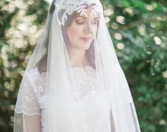 Wedding veil with blusher, Juliet veil, pearl & crystal Alencon lace adornment, heirloom wedding veil, softest English net, Style 811
