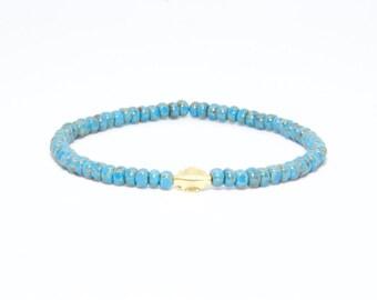 Beaded Bracelet in 18K Solid Yellow Gold - Beach Boho Stretch Cord - Glass Turquoise Light Blue Thin Beads - Men Women Unisex Gift Him Her