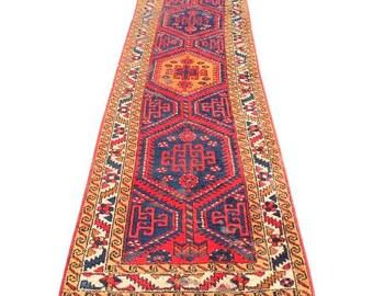 Vintage Persian Runner Oriental Rug Medallion Worn In Wool Rug Symbol  Bohemian Rug Layer Carpet Hallway