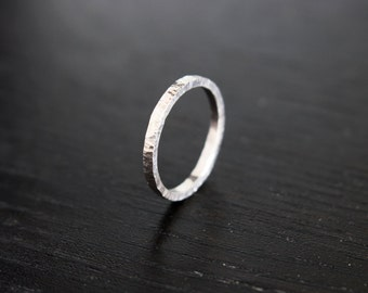 Bark Ring • Recycled Sterling Silver • Handmade Hammered Slim Band