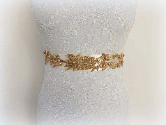 Ivory Bridal Sash Belt. Gold Embroidered Flowers decorated with gold swarovski pearls and crystals. Bridal Wedding Sash.