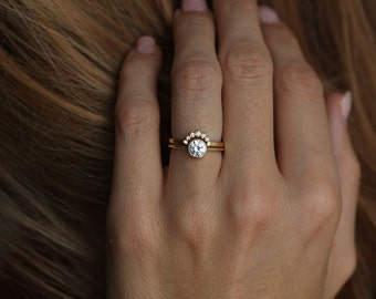 yellow gold diamond ring with curved diamond band simple wedding ring set solitaire diamond - Simple Wedding Ring Sets