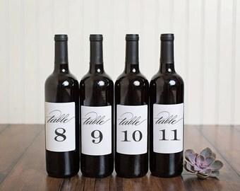 Table Number Wine Bottle Labels \\ Classic Script