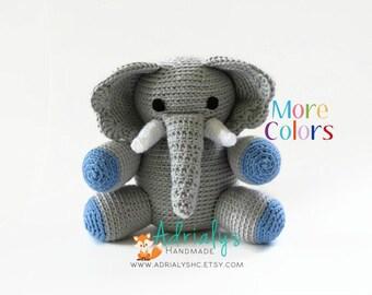 Crochet Elephant- Crochet Animals | Crochet Toy | Elephant Nursery Decor | Elephant Baby Shower | Safari Animals | Custom Made to Order
