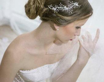 Wedding Rhinestone Hair Comb,Bridal Rhinestone Headpiece,Bridal Hair Vine Comb,Weding Pearl Crystal Hair Comb,Silver Rhinestone Hair Comb