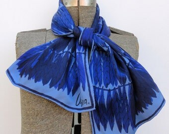Vera Neumann Scarf, Vintage Early 1970s Blue Black 14 Inches X 44 Inches Accessory, 70 Acetate Long Scarves by Vera Rows of Feathers