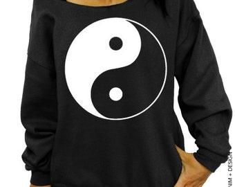 Yin Yang - Black with White Ink Slouchy Sweatshirt - Yin - Yang - Women's Clothing