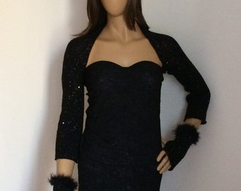 Black Shrug, Evening Shrug Bolero, Gothic Wedding Shrug, Sequin Shrug with Handwarmers