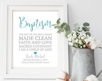 Baptism Printable. Baptism Gift Boy. Baptism Print.