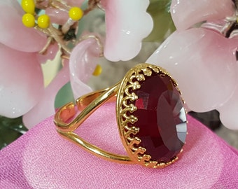 Ruby Red Gold Ring, Ruby Birthstone, July Birthday, January Birthstone, Large Statement Ring, Oval Faceted Glass, Adjustable Ring, R2000