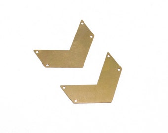 Raw Brass Chevron Pendant, Initial Pendant 2 Pc Exclusive at Goldie Supplies