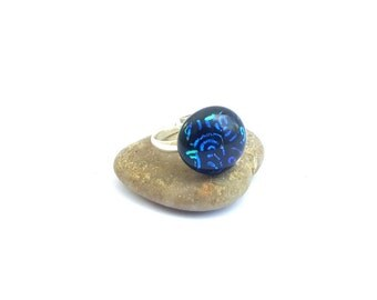 Kiln-fused ring in blue teal swirl and black dichroic glass/Handcrafted dichroic glass ring on silver band/Handmade fused glass ring