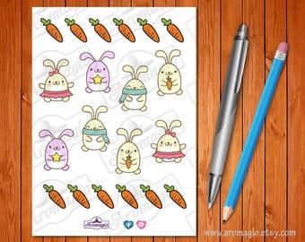 Kawaii Bunny Rabbit Stickers with Carrots. 8 Bunnies, 12 Carrots. Pet Feeding Reminder, decoration. Filofax, Erin Condren, Kikki K Planners.