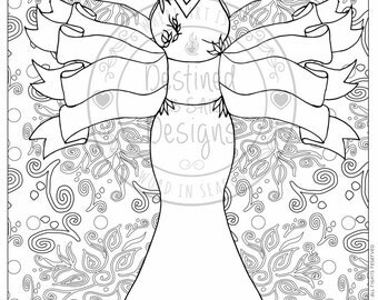 DIY Printable Coloring Page. Illustration of Lady with Double Banners and Floral background. Inspirational. Instant Download.