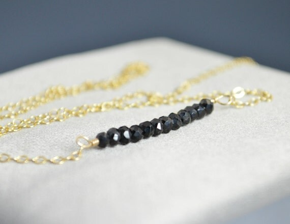 Black Spinel Necklace, Gem Bar, Dainty 14k Gold Fill, Sterling Silver, Rose Gold, Black Necklace, Faceted Black Spinel, Bar Necklace, Gold