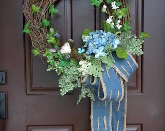 FREE SHIPPING!!...Spring door wreath/ Wreath Amore/ Spring wreath/ Summer wreath/ Bird nest wreath/ Burlap wreath/ Blue door wreath