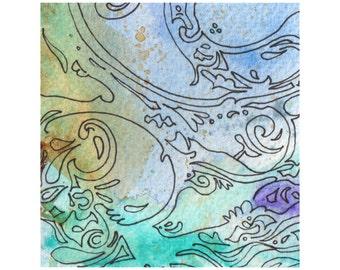 Pretty watercolour pattern, original art, pastel colours, small painting, 3x3 square art, home decor, not a print