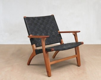 """Black Leather Mid-Century Modern Armchair with Royal Mahogany Frame and Handwoven seat.  """"The Abuelo"""" by Masaya and Company."""