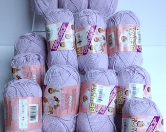 14 Skein Bundle Bernat Cotton Yarn Destash Vintage Bernat Dewdrop Yarn Bundle Violet Sport Weight Knitting Crochet Yarn Soft Cotton Blend