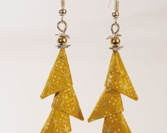 "Origami ""Gold Christmas tree"" earrings"