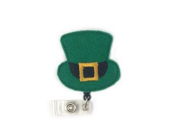 Leprechaun Badge Holder- Retractable ID Badge Holder-Irish Badge Reel-Irish Badge Holder-Leprechaun-Felt Badge Reel-Id Badge Holder-Nurse-RN