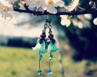 Woodland Earrings, Fuchsia Earrings, Nature Earrings, Flower Earrings, Fairy Earrings, Boho Earrings, Bridesmaid Gift For Her,  Swarovski.