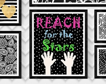 Color Reach for the Stars, digital download art, black and white typography,childrens art print,Scandinavian poster, motivational quote, art