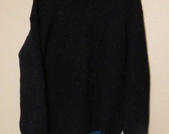 Vintage 90s REI Mottled Black Wool Sweater