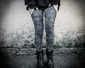 BROKEN - Grey Black Distressed Leggings Post Apocalyptic Double Layer Tight Dystopian Alternative Clothing Hand painted