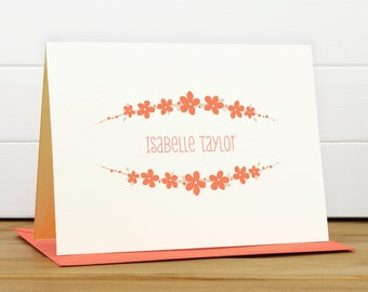 Personalized Stationery Set / Personalized Stationary Set - BOUQUET Custom Personalized Note Card Set - Flower Feminine Pretty