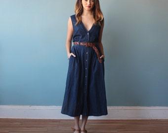 denim midi dress / vintage lands end deep v jumper dress / 1990s / medium - large