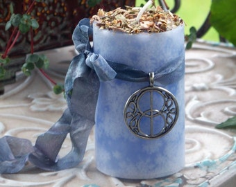 "AVALON GATE™ Vesica Piscis ""Celtic Lights""™ Blue Pillar Candle w/ Silver Tone Metal Glastonbury Chalice Well Cover Amulet"