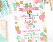 Bubbles & Brunch Birthday Invite, Bubbles Birthday Party, Bubbly Fun Birthday, Printable Invite, Brunch Party, Bubbles Party, Girl Birthday