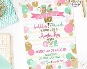 Bubbles & Brunch Birthday Invite, Bubbles Birthday Party, Bubbly Fun Birthday, Printable Invite, Brunch Party, Bubbles Party, Girl Birthday