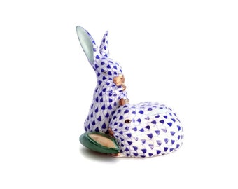Herend Bunnies Hungarian Porcelain Bunny Rabbit Figurine Blue Fishnet