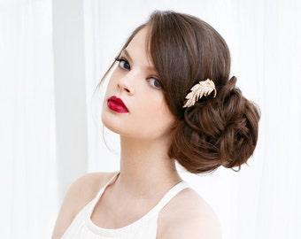 Clear Pave Rhinestone Bridal Hair Clip, Feather Hair Clip, Gold Hair Clip, Rhinestone Feather Crystal, Rhinestone Feather Clip FLOATING